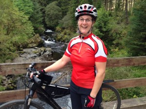 Michelle on a bike trail in Scotland