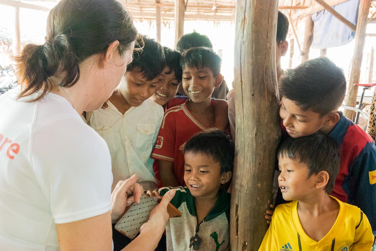 Chatting to local children