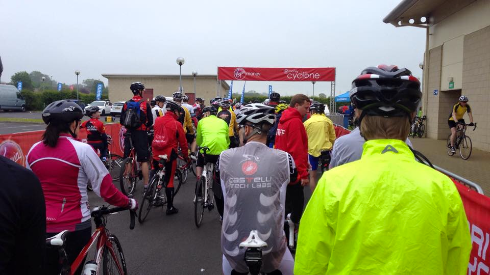 A photo of the start line at the Cyclone 2015.